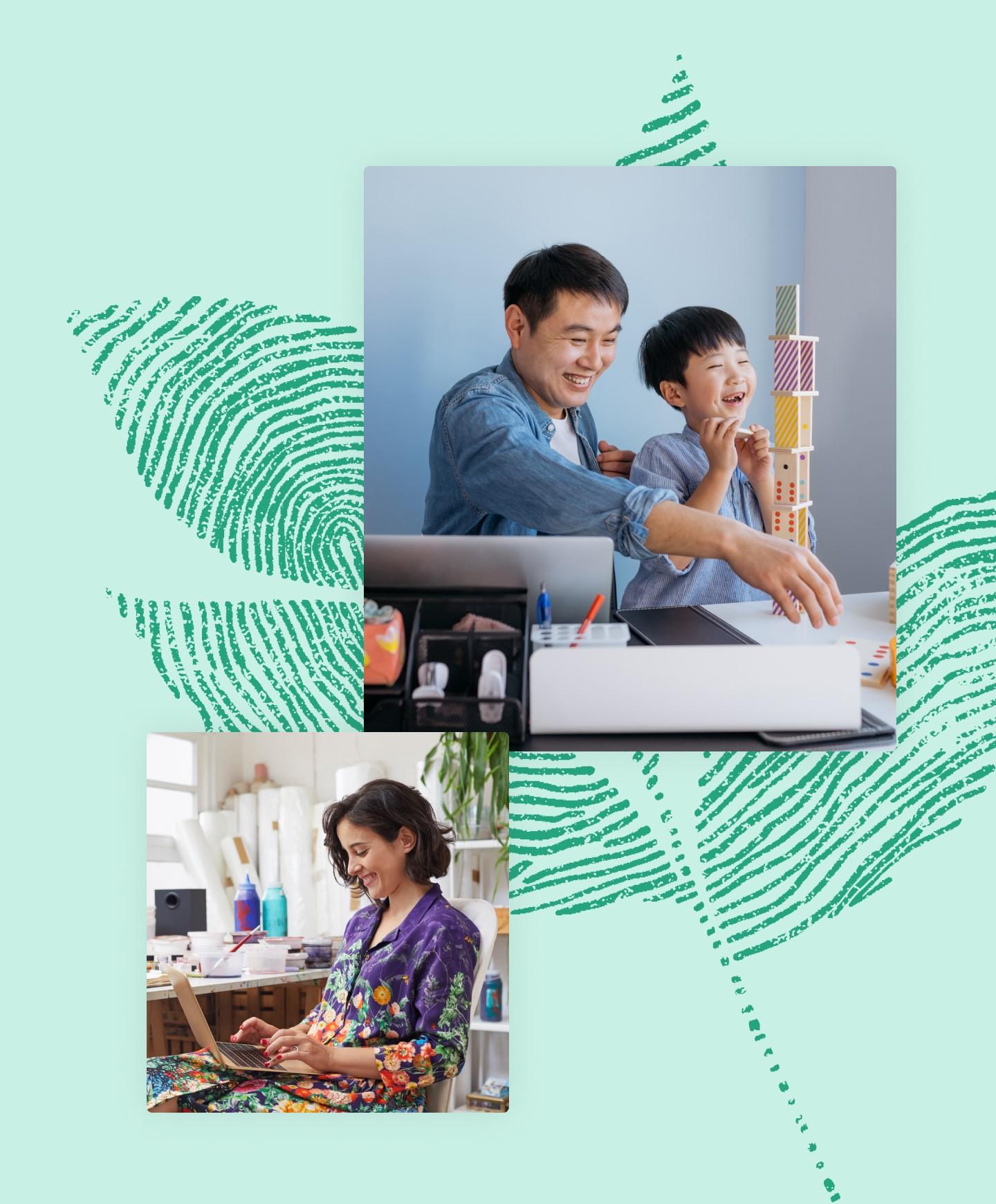 一位父亲、孩子和一位微笑的妇女使用笔记本电脑的照片