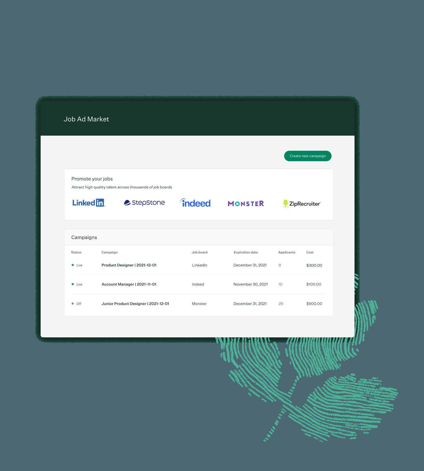 Image of Greenhouse Job Ad Market interface