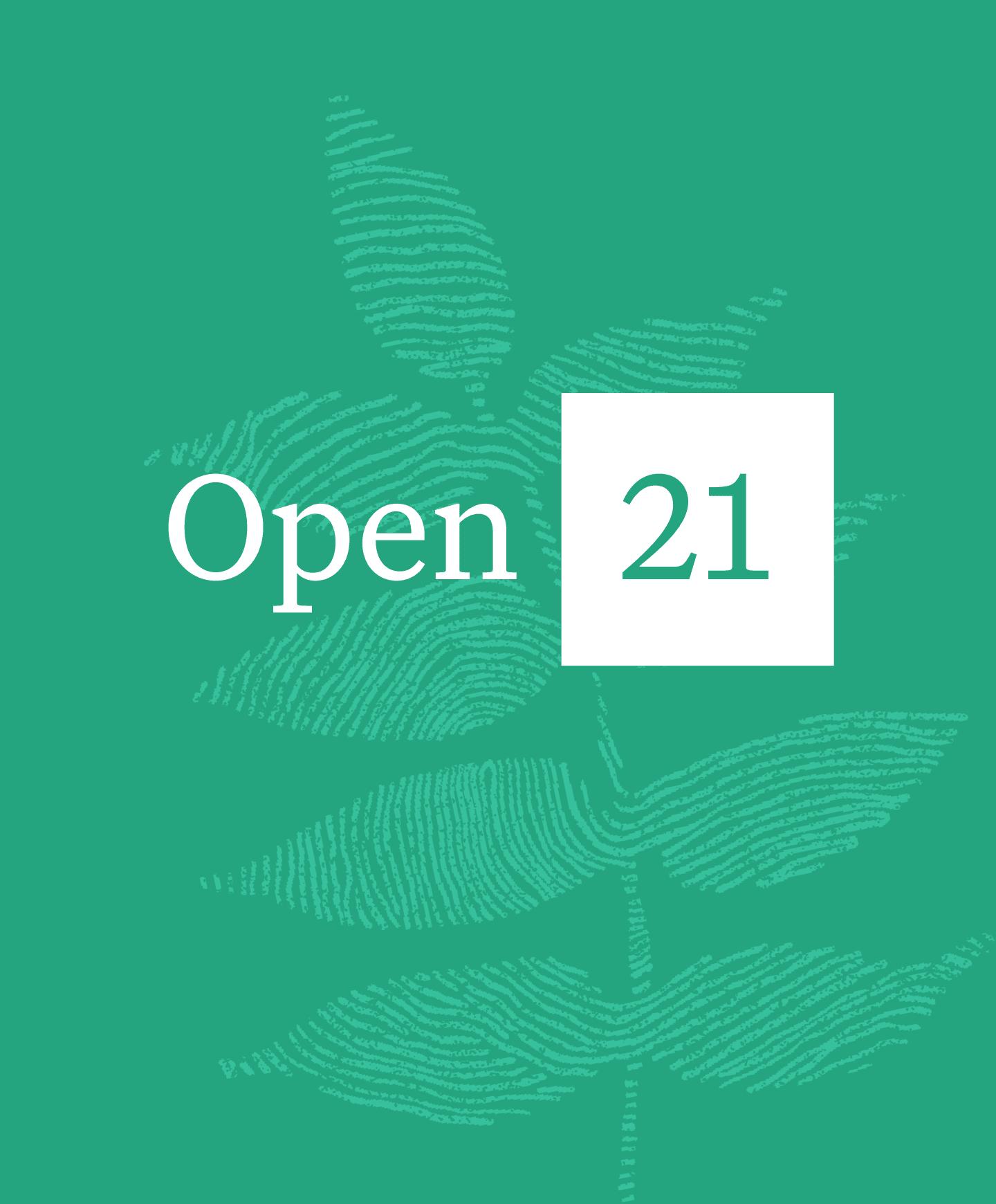 Image of Open 21 logo and botanical illustration