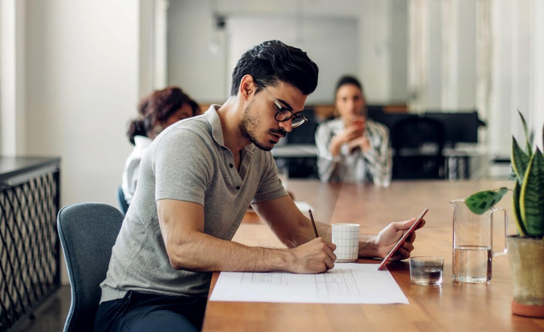 Man working in open office