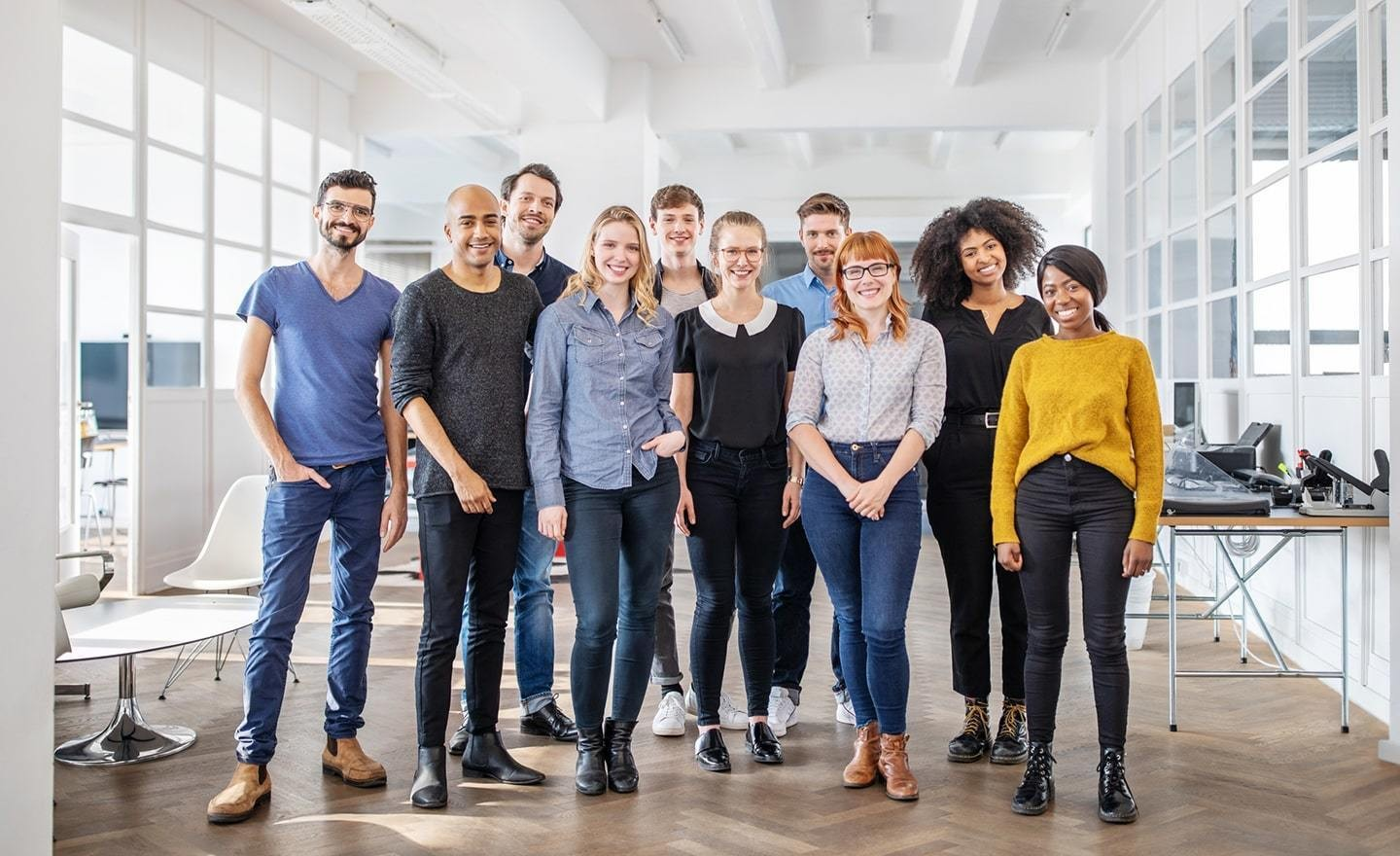 A group of employees in an office space